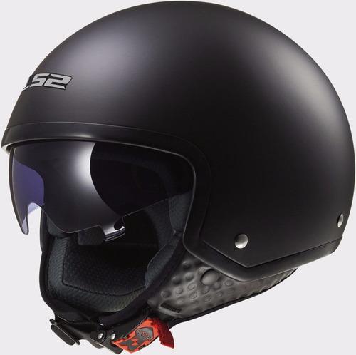 casco abierto ls2 of561 wave mate negro visor devotobikes