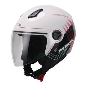 Casco Abierto Mac Beat Trek Blanco/negro/rojo Moto Plex Tuc
