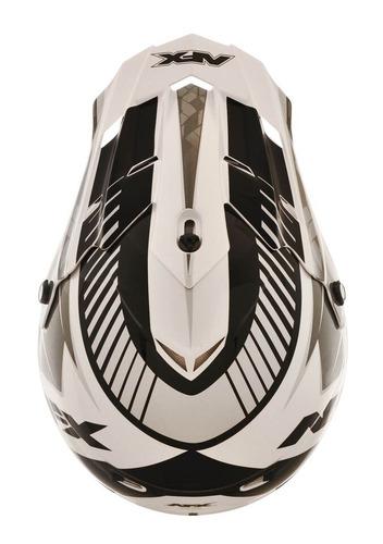 casco afx fx-17 factor brillo mx plata blanco negro xs
