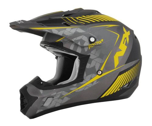 casco afx fx-17 factor frost mx amarillo/gris xl