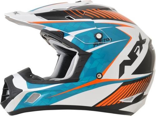 casco afx fx-17y comp juvenil blanco perlado/naranja/azul md