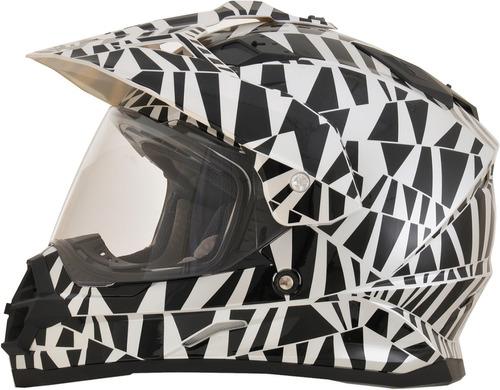 casco afx fx-39 dazzle rostro completo negro/plateado xs