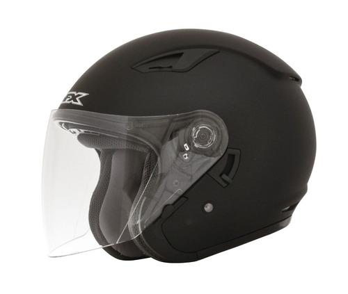 casco afx fx-46 sólido rostro abierto negro md