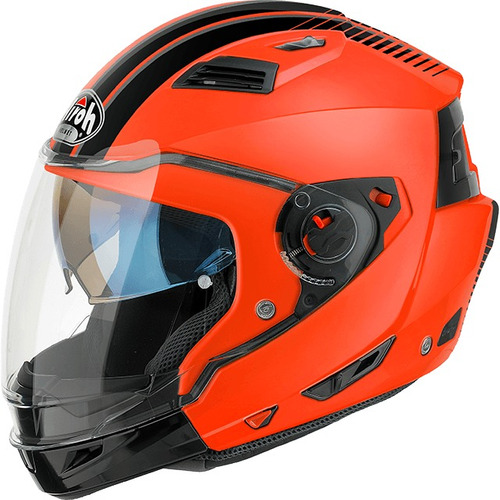 casco airoh executive orange 2 en 1 alta gama motodelta