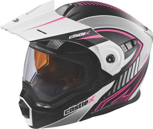 casco castle x racewear exo-cx950 apex 2 lentes blan/rosa lg
