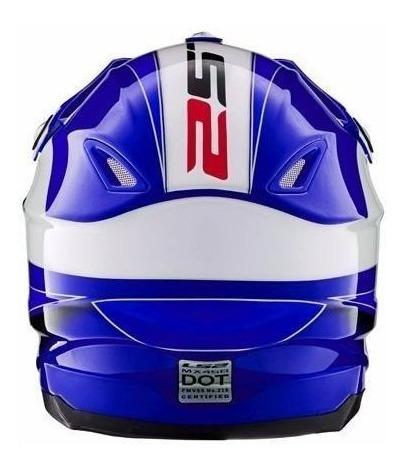 casco cross ls2 mx ff456 launch blue azul enduro cuotas