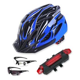 Casco De Bicicleta + Luz De Bicicleta Recargable Usb.