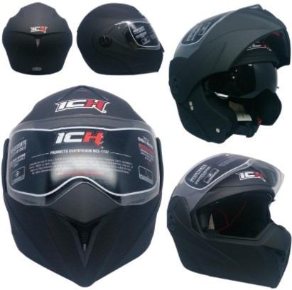 casco de moto ich, abatible y homologado, doble visor