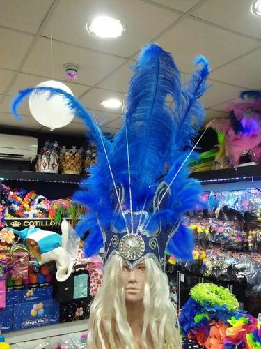 casco de plumas - color azul - idela 15 años, novia, etc