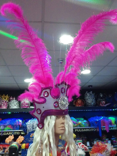 casco de plumas con luz - modelo copacabana x 1
