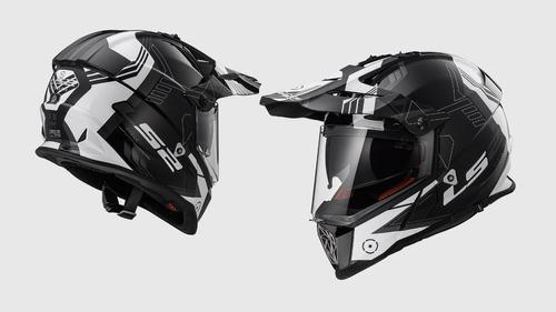 casco doble proposito ls2 pioneer bco/ngo rider one