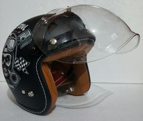 casco gdr con mica burbuja black soul negro mate rider one