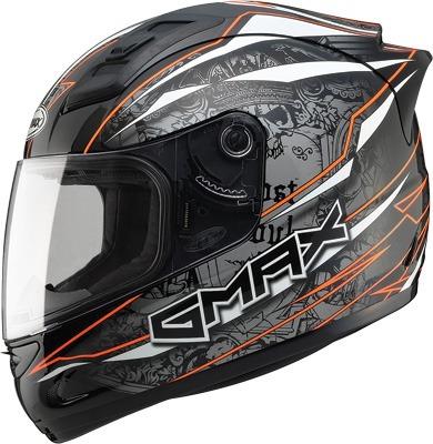 casco gmax gm69 mayhem cara completa negro/plata/naranja 3xl
