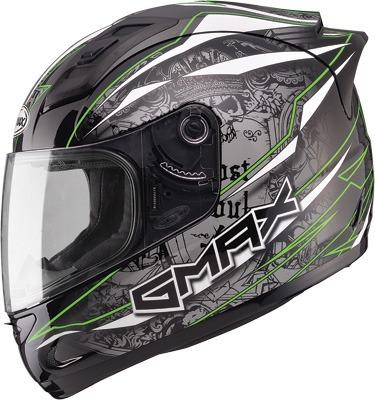 casco gmax gm69 mayhem rostro completo neg/plateado/verde md