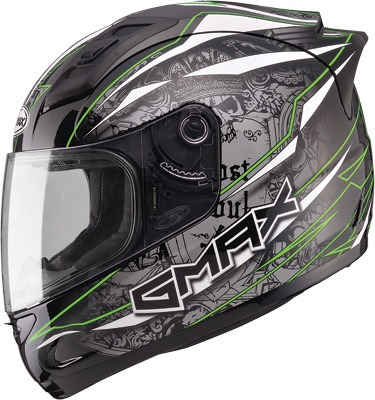 casco gmax gm69 mayhem rostro completo neg/plateado/verde sm