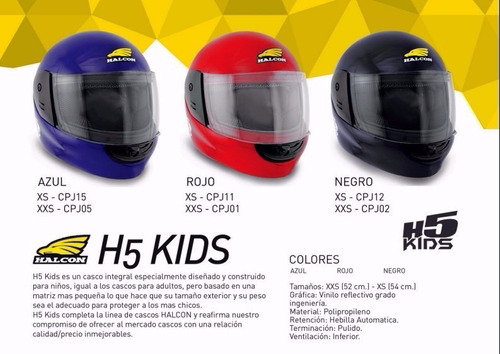 casco h5 kids - tamburrino hnos