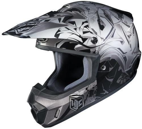 casco hjc cs-mx 2 graffed mx/offroad plata/negro/gris xs