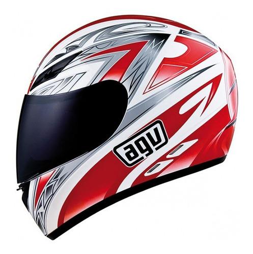 casco integral agv k3 basic one white red blanco rojo - um