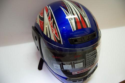 casco integral con visera color rojo y azul talla l