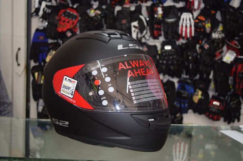 casco integral ls2 single rookie negro + regalo rider one