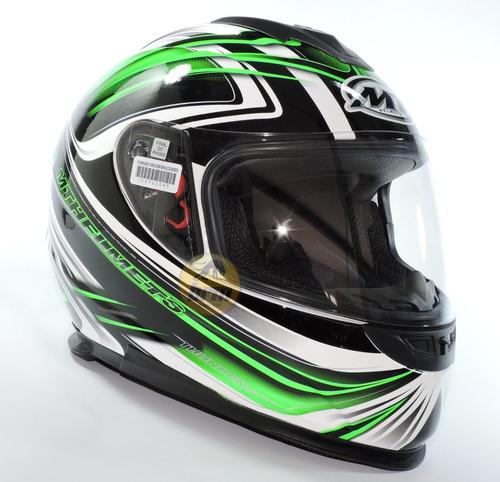 casco integral mt - thunder ligthning - verde - negro - brm
