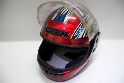 casco integral  rojo con detalles /talla l