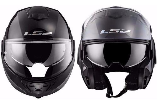 casco ls2 399 valiant matt black rebatible 180 c/visor 2020