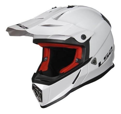 casco ls2 cross 437 fast solid blanco white devotobikes