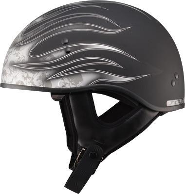casco medio gmax gm65 con flamas negro/oscuro plata md