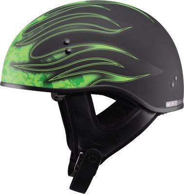 casco medio gmax gm65 con flamas negro/verde 2xl