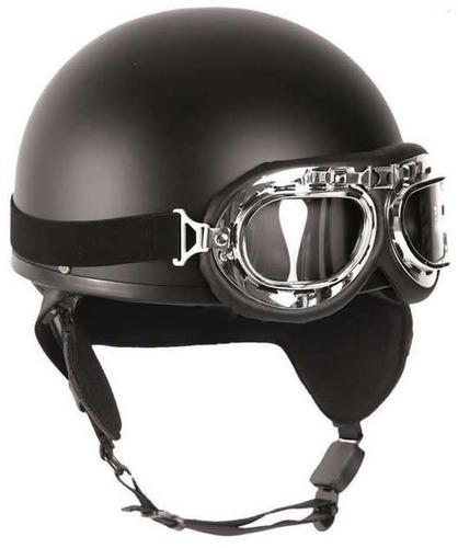 casco mil tec para motociclistas helm halbschale negro