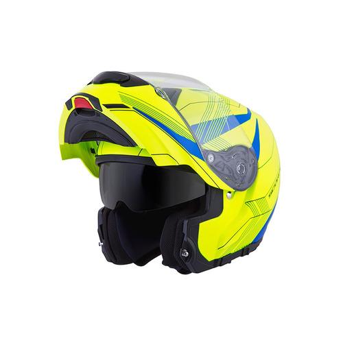 casco modular scorpion exo gt3000 sync 2016 ama neón/azul s