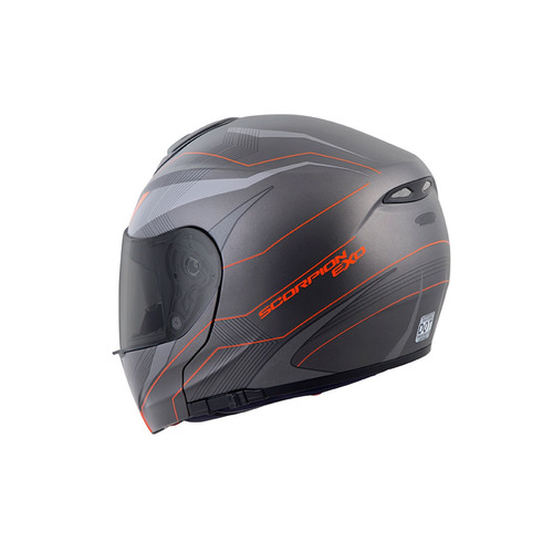 casco modular scorpion exo gt3000 sync 2016 gris/naranja sm