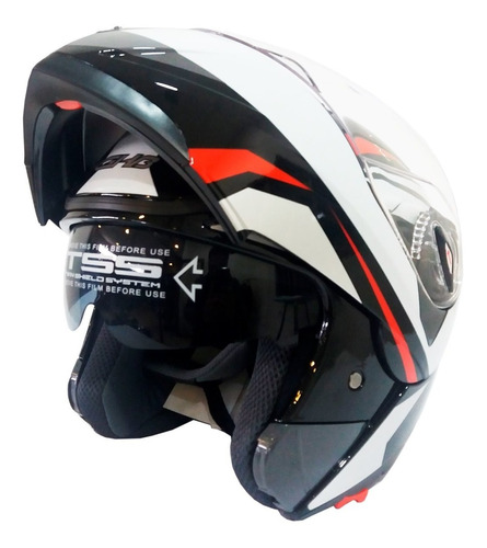 casco moto abatible ghb 158 arrow negro blanco rojo