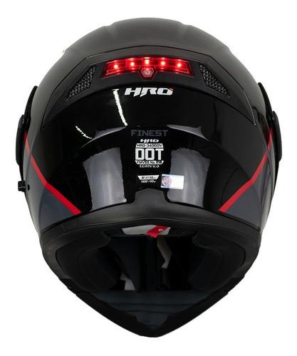 casco moto abatible hro 3400dv finest gris con luz stop