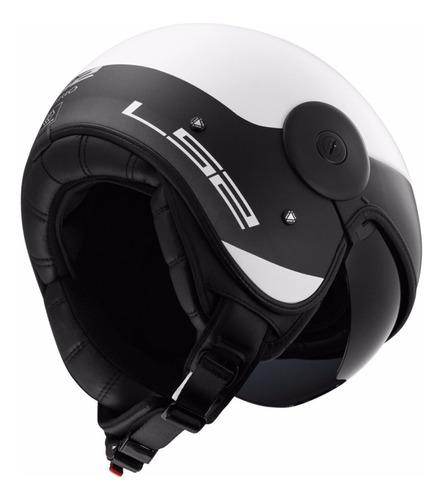 casco moto abierto ls2 597 via cabrio  blanco/negro