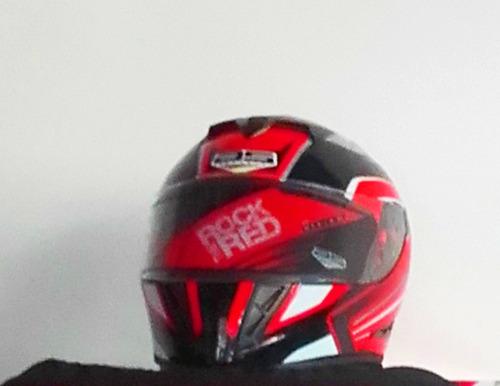 casco moto color rojo con negro tallas s/m/l