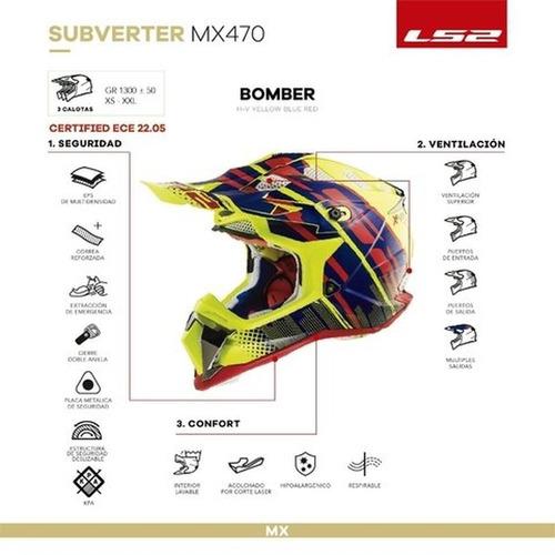 casco moto cross ls2 470 subverter bomber 2020 solomototeam