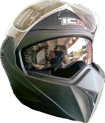 casco moto integral abatible doble visor certificado ich3110