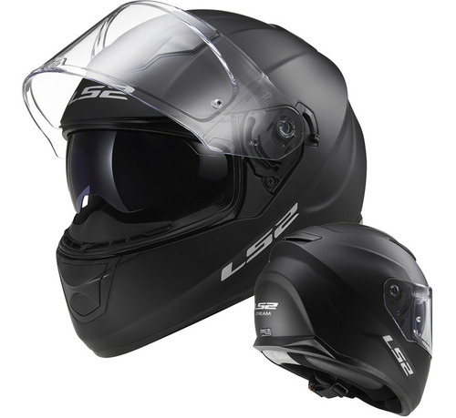 casco moto integral ff 320 ls2 evo negro mate mono doble visor c/ tecnología pinlock
