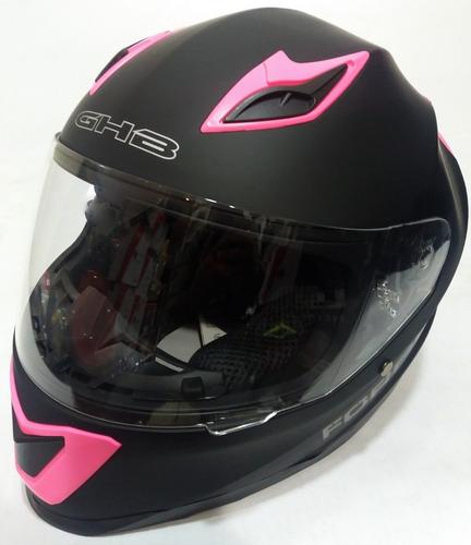 casco moto integral ghb m-62 plain negro rosa matte