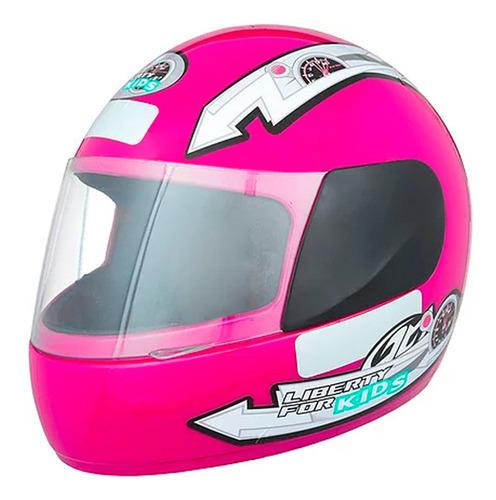 casco moto integral protork liberty four kids rosa t54