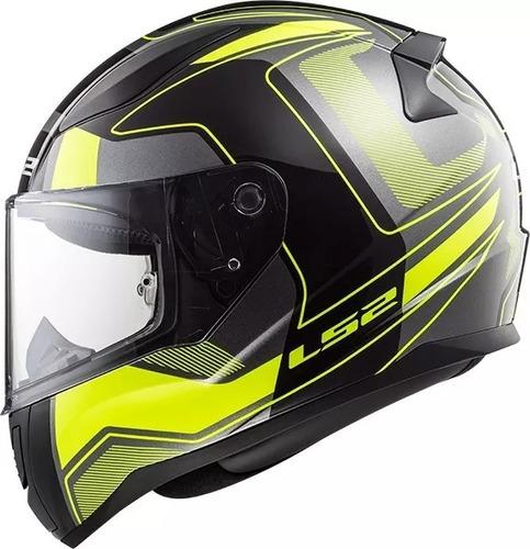 casco moto ls2 353 rapid carrera amarillo fluo devotobikes
