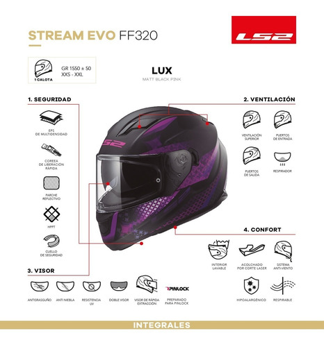 casco moto ls2 ff320 stream lux matte negro rosa