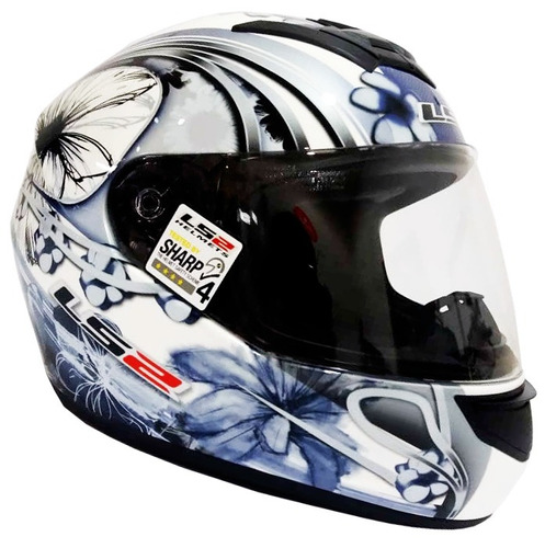 casco moto ls2 ff351 stardust 3 blanco azul