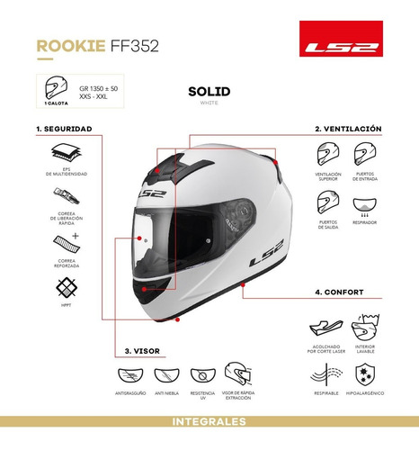 casco moto ls2 ff352 blanco brillante