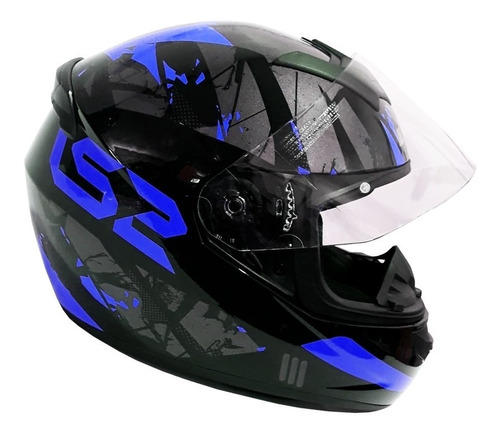 casco moto ls2 ff352 palimnesis negro azul