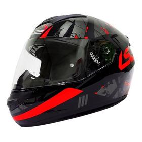 Casco Moto Ls2 Ff352 Palimnesis Negro Rojo