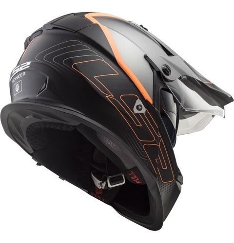 casco moto ls2 mx436 pioneer element negro titanio matte