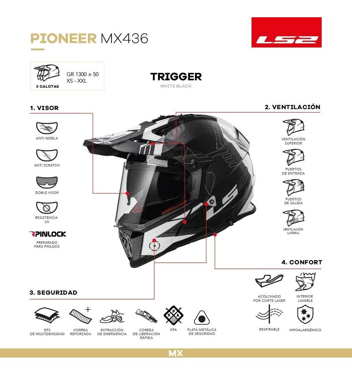 titanio blanco negro LS2/Casco de Moto Mx436/Pioneer Element M